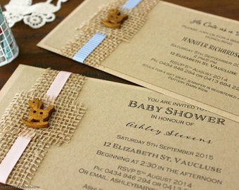 Rustic Baby Shower Invitation- handmade with recycled Kraft card, hessian/ jute and wooden rocking horse