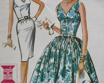 1960's Fitted Dress Sewing Pattern, Slim or Full Skirt, McCalls 6799, UNCUT, Misses Size 12 Bust 32