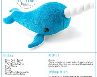 Narwhal Stuffed Animal Sewing Pattern, Whale Pattern, Plush Toy Pattern, PDF Tutorial