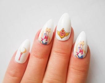 Sailor Moon Stiletto Nails, Fake Nails, Almond Nails, False Nails, Anime, Manga, Kawaii, Acrylic Nails, Press on, Nails
