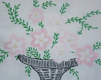 Vintage Doilies Embroidered Linen Dress Scarf Doily Pink Flowers Cottage Country Decor