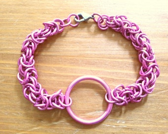 Pink/Magenta O Ring Chainmaille Bracelet Byzantine Anodized Aluminum Slave Bracelet Special Price