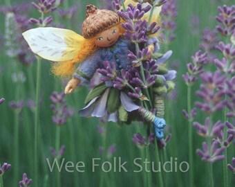 Lavender Fairy 4 note cards Felt Wee Folk