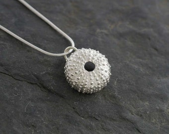 Silver Sea Urchin Pendant   Handmade recycled fine silver jewellery   pmc silver clay necklace