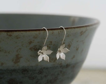 Silver Star Flower Calyx Earrings   PMC Fine Silver Clay Jewellery     Handmade Recycled Silver Earrings
