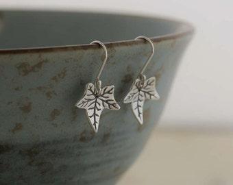 Silver Ivy Leaf Earrings   PMC Fine Silver Clay Jewellery    Handmade recycled fine silver Earrings
