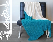 """DIY Crochet PATTERN - Triangle Color Blocked Throw Blanket  Size: 36""""x64"""" (2015002)"""