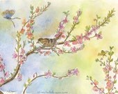Spring Sparrow Butterfly and Bee Greeting Card, Watercolor and pen, by Michelle Kogan, Birthday Cards, Thank You Cards, Notecards,