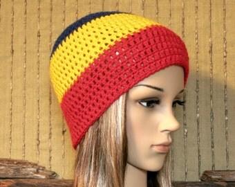 Crochet Hat, AFL Adelaide Crows Football Beanie, Womens Mens Beanie, Winter Wool Hat, School Student Beanie, Australia
