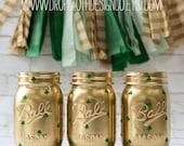 Shamrock Painted Mason Jars for St. Patrick's Day - Set of 3 Pint Size Jars