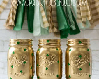 Shamrock Painted Mason Jars for St. Patrick's Day - Set of 3 Pint Size Jars