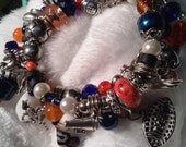 Denver Broncos Memory Wire Charm Bracelet with Beads Galore!  Blue and Orange Jewelry