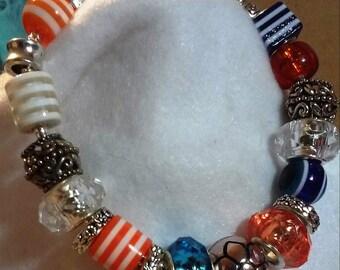 Denver Broncos Bracelet with Beads and Charms (European Style Bracelet) Blue and Orange Bracelet - Jewelry