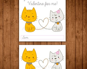 "Printable ""Purrr-Fect"" Kitten Valentine Tags & Cards"