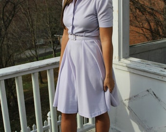 Vintage 50s Lavender Pearl Button Swing Dress