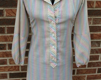 Vintage 60s Spring Colors Gingham Button-Up Collar 3/4 Sleeve Dress