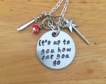 Sword In The Stone, It's Up To You How Far You Go Sword In The Stone Affirmation Quote Charm Necklace