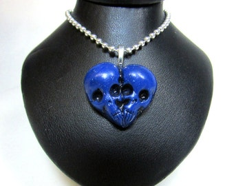 Blue Skull Heart / Till death do us part / skull jewelry / morbid love gift / Sculpted Pendant / Polymer clay / gothic jewelry/ horror