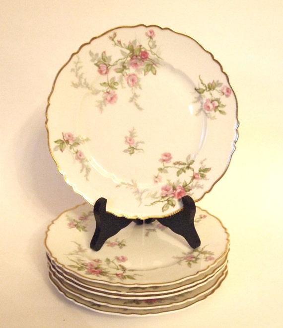 """Haviland Limoges Small Plates Dessert Plates with Pink Roses """"Sylvia"""" France - Set of 6"""