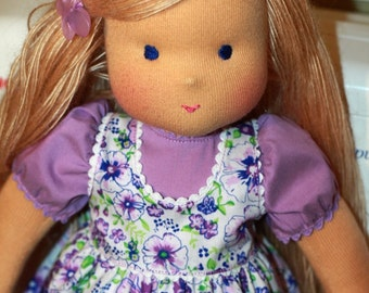 "Waldorf doll - ""Lilac flower3"" -15 inches, custom dolls for children from 5 years old, daughter of a gift"