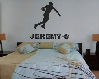 Basketball Player Sticker Custom Name, Customize Basketball Decal, Sports Wall Decal, Wall Decals Kids, Basketball Decor, Boy Room Name, s23