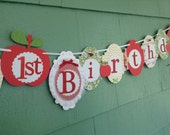 Happy first 1st Birthday Banner girl birthday party sign decorations APPLE of my eye apple theme