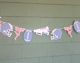 Gender Reveal Banner Team Pink or Blue Football Cheerleader sports theme garland pop pom helmet baby shower decorations boy girl party decor