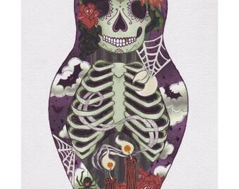 Dia de los Muertos Sugar Skull Halloween Nesting Doll Art Print