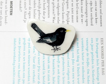 Hand painted Blackbird brooch. Bird badge. Illustrated brooch