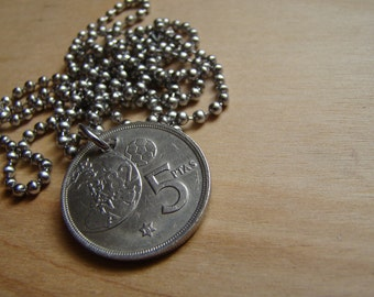 1980 Coin Necklace with Stainless Steel Ball Chain - Double Sided - Spain - Soccer