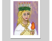 Patron Saint of Sight / Saint Lucy / Santa Lucia / Catholic Saint Icon Acrylic Painting