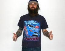 Nascar Dale Jarrett Vintage Graphic Chase Authentic Medium Hipster Redneck Racecar Fashion. 80s or 90s Style Bright Blue and Red Shirt