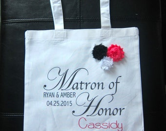 Personalized Maid of Honor Matron of Honor gift bag wedding married bride