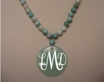 Personalized Seafoam Glass Necklace
