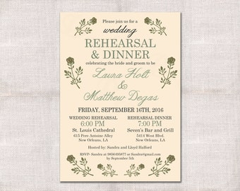 Wedding Rehearsal Dinner invitation custom printable 5x7 garden party botanical outdoors floral flowers invite