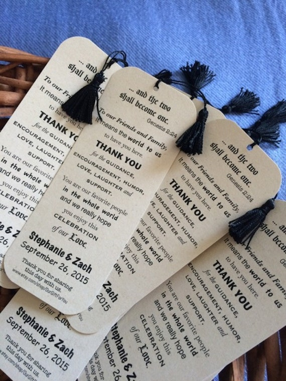 Celebration of Love - Thank You Bookmark - Personalized Wedding Favor