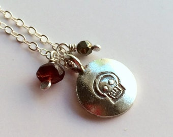 January Birthstone, Skull Jewelry, Sterling Silver Skeleton Necklace, Skull Pendant With Garnet, Pyrite, Silver and Gemstone Charm Necklace