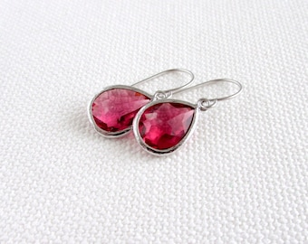 Ruby Earrings, Silver Rhodium, Red Teardrop Modern Earrings, Minimalism, Bridal, Simple Elegant