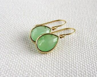 Mint Green Earrings, Gold Teardrop Dainty Modern Earrings, Glass Stone, Minimalism, Bridal, Pastel