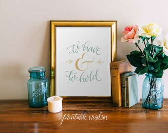Wedding printable quote decor, hand lettered calligraphy print watercolor print - blue gold wedding decor typography print Printable Wisdom