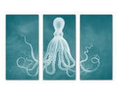 Octopus Canvas Print in Really Teal, Poster, Art Print, Lord Bodner Octopus Triptych, Giant Kraken Large Wall Hanging, Nautical Art Decor