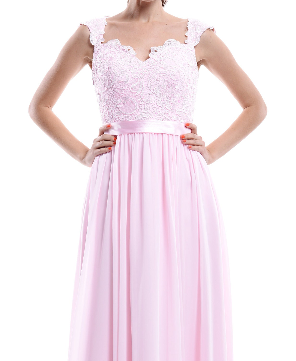 Pale Pink Lace Chiffon Bridesmaid Dress Floor Length Open