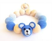 Wooden Teether Crochet Teething ring toy Blue Bear Chew Beads BabyTeether Motor Development Gift for Baby First toy baby