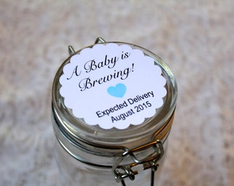 BABY IS BREWING, Baby Shower, Baby Boy Stickers, Baby Blue, Favor Tags, Baby Shower Favor Tags, Gender Reveal