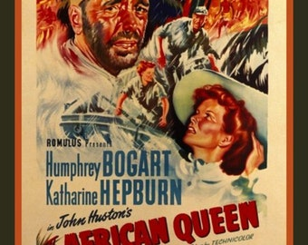 Fridge Magnet African Queen movie poster image Humphrey Bogart and Katharine Hepburn