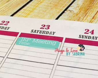 IEP Meeting Planner Sticker - Size Customize-able