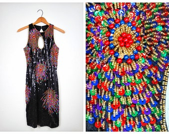 PSYCHEDELIC Burst Sequin Dress // Black and Colorful Beaded Mini Dress // Fireworks Embellished Sleeveless Trophy Dress Small