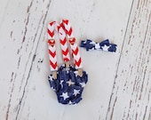 Patriotic Stars Chevron Fourth of July Tie Suspenders Set Newborn Toddler Cake Smash Photo Prop