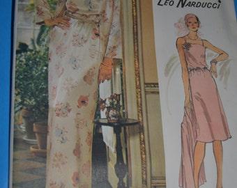 Vintage 70s Vogue 1203 Leo Narducci Misses Evening Dress and Jacket  Sewing Pattern  - UNCUT Size 10 - UNCUT