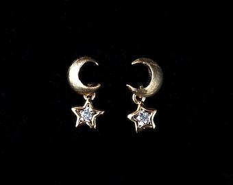 Mini moon and star earrings